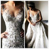 Luxurious Crystals 2019 Arabic Wedding Dresses Cap Sleeves M...