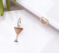 المجوهرات S925 شكل إبرة الفضة الاسترليني الأقراط النبيذ الزجاج غير المتكافئة أقراط سحر للنساء الأزياء الساخن