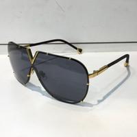 Hommes Femmes 0926 Ovale Sun Stylisme Lunettes de protection UV Traitement des lentilles marron gris Objectif Couleur Frameless plaqué cadre avec étui