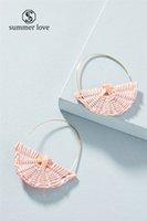 2019 Новый Handmade сплетенный Rattan U образный мотаться серьги для женщин Мода Творческий сплав Крюк серьги падения Модный подарок ювелирных изделий