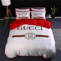 White Red Stripe Bed Cover Fashion Letter Print Thicken Soft...