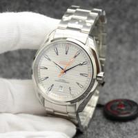New Style Dial Branco Mestre Aqua Terra 150M Mens 42 milímetros automática de aço inoxidável mecânica Co-Axial Vidro Voltar Sports Mar Mens Relógios