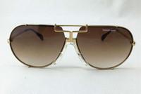 Luxury-vintage 901 TARGA Design Pilot occhiali da sole oro / marrone Gradient Lenses Men Designer Occhiali da sole Occhiali da sole Nuovo con scatola