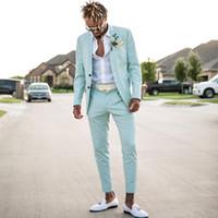 Mütevazı Nane Yeşil Erkek Takım Elbise Slim Fit İki Adet Plaj Groomsmen Düğün Smokin Erkekler Için Doruğa Yaka Resmi Balo Suit (Ceket + Pantolon)