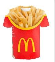 Neu kommt Hip Hop Summer Style Burger Pommes Fast-Food-lustige 3D-Mann-Frauen-Mode-T-Shirt-Druck übersteigt freies Verschiffen XR82