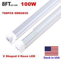 8 pies de luces LED en forma de V lados dobles tubo Fluroescent Tubo de luz LED Bombilla LED integrado 8 pies Enfriar la luz 72W Tubo Shoplight