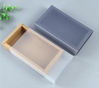 9 أحجام كرافت أسود أبيض هدية مربع التعبئة والتغليف مع نافذة كرافت ورقة كرتون هدية ورقة مربع مع غطاء من الورق المقوى الكرتون