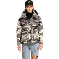 ODM Nova moda camuflagem jaqueta reversível inverno jaquetas zip escondido jacke camouflagedown