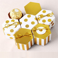 Mini hexagon presentkartonger socker liten och utsökt packbox varm försäljning med guld vit färg 0 29hb j1