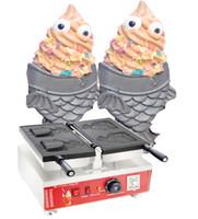 Livraison gratuite électrique 110v 220v Clin d'oeil Eye Taiyaki Maker Machine crème glacée japonaise poisson Maker cône