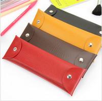 도매 복고풍 디자인 간단한 가죽 펜 연필 케이스 가방 편지지 화장품 저장 주최자 가방 학교 학생 용품