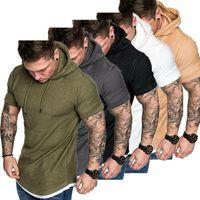 2019 رجل صالح سليم الصيف القميص عادية القميص بلايز الملابس مقنعين المحملة العضلات