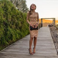 Lace Sheath Short Cocktail Dresses High Neck Long Sleeve Knee Length Prom Party Gowns Special Occasion Dress robe de cocktail