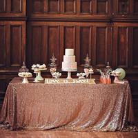 로즈 골드 스팽글 식탁보 결혼식 공급 파티 장식 빈티지 반짝 테이블 천으로 패브릭 높은 품질 긴 1m 폭 1.2M