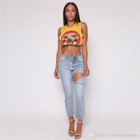 Kadın Yaz Desinger 3D Baskı tişörtleri Kolsuz Mürettebat Boyun Navel Moda Bayan Giyim Seksi Gündelik Giyim