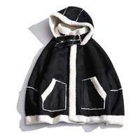 Los hombres de la chaqueta de invierno de la manera caliente de color de contraste ocasional de la capa con capucha piel del cordero hombre Streetwear suelta de algodón acolchado hombres Ropa S-2XL