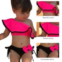 Loozykit 2019 اطفال اطفال فتاة اثنين من قطعة ملابس السباحة الصيف الطفل ملابس لممارسة الرياضات المائية بيكيني السباحة اللباس شاطئ الاستحمام زي C21