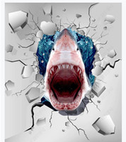 3D customized PVC self-adhesive mural wallpaper floor painting Ground crack shark creative painted 3D waterproof floor stickers