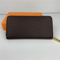 Mode Femmes Portefeuilles Lady Célèbre Pu en cuir Porte-monnaie Porte-monnaie à fermeture à glissière unique avec boîte orange 60017