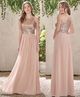 A Linha Rosa de Ouro Sequins Top longo de chiffon praia dama de honra vestidos 2020 Halter Backless Ruffles Blush rosa dama de honra vestidos DH5005