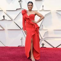 Elegantes vestidos de noche rojos de un hombro Volantes Sirena Concurso dividido Vestidos de alfombra roja Vestido de fiesta Vestido por encargo Robe de soriee E033