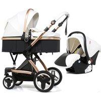 Cochecito de bebé de lujo de lujo de PU 3 en 1 bebé 2 en 1 Silla de cochecito plegable para bebé para bebé para muñecas Accesorios