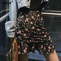 Etekler Ingoo Seksi Çiçek Baskı Chffion Trompet Kısa Bayan Yaz Bahar İpli İnce Dantelli Mermaid Siyah Skrit Streetwear