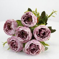 purple pink big peony artificial flowers elegant beautiful s...