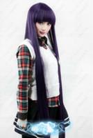 193 Inu x Boku SS Shirakiin Ririchiyo 100 cm Cosplay Kostüm Peruk Mor mix Siyah