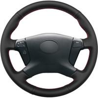 أسود جلد طبيعي DIY اليد مخيط تغطية عجلة القيادة سيارة لتويوتا أفينسيس 2003-2007