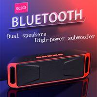 SC208 미니 휴대용 블루투스 스피커 무선 스피커 큰 소리로 음악 플레이어 큰 파워 서브 우퍼 지원 TF의 USB FM 라디오 소매 패키지