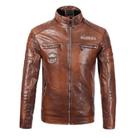 Coat Leather Jacket Motorcycle Style Male Business Casual Ja...