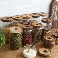 350/500/750/1000 / 1700ML خشبية غطاء التخزين جرة العليا البورسليكات شفاف التخزين الزجاج خزان الحبوب مطبخ الحاويات