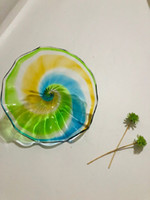 LED 장식 컬러 유리 잎 플레이트 풍선 유리 접시 터키어 아트 데코 유리 장식 플레이트 벽 매달려