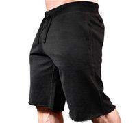Лето Изношенные Граничная Мужские шорты Фитнес Бег Шорты Pure Color Спортивные штаны до колен Причинная Одежда мужская