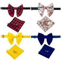 2020 Yeni Geliş Kadife Big Bowties İçin Adam Wedding İçin Katı Mendil Kol Düğmeleri Bow Tie Seti Kırmızı Sarı Erkek Boyun Kravatlar