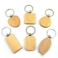 Keychain Gravé personnalisés Personnaliser Mignon Porte-clés en bois vierges Carving bricolage Rectangle Carré ronde en forme de coeur Envoi gratuit LXL934