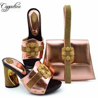 Capputine New Arrival PU With Stone Wedding Shoes And Bag Se...