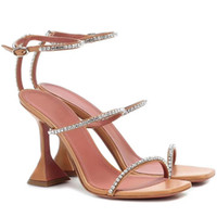 2021 Sommer Sandale Schuh Selthemmende Tasse Ferse 3 Rhinestone Strap Spike-Heels Party Frauen Hochzeit Mode Designer Marken