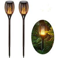 Güneş Enerjili LED Alev Lambası Açık Güneş LED Yangın Işıklar Bahçe Dekorasyon Su geçirmez Dans Titrek Torch Işık CFYZ17Q