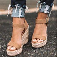Dropshippinmg verano alta talón de cuñas sandalias del dedo del pie abierto de la manera plataforma elevadora de las mujeres zapatos de las sandalias más el tamaño Bombas 2020 S20326