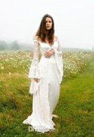 Богемные хиппи с открытыми плечами свадебные платья с расклешенными рукавами зашнуровать корсет средневековые свадебные платья кантри Готика кельтская свадьба