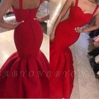 2019 Red Vintage Puffy Röcke Abendkleider Einfache lange ärmellose Plus Size Spaghetti-Trägern Mermaid Prom Kleider BC2029