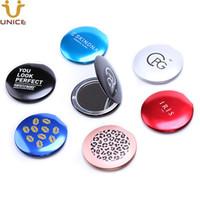ADEDI 50 ADET Özelleştirmek Logo Alüminyum Alaşım Seyahat Makyaj Kompakt Ayna Kızlar için Gümüş Gül / Mor / Altın / Siyah / Mavi / Pembe