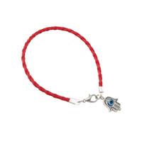 Encantos 100pcs Red de cuero artificial de cadena trenzada Kabbalah del ojo malvado de Hamsa Mano pulseras 20cm hombres y mujeres pulsera de la suerte de cuero