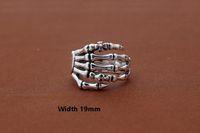 Argent sterling 925 punk vintage bijoux crâne de designer américain fait main Skeleton mains antique bague en argent anneaux pour femmes hommes