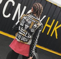 2018 new Women Punk Party Street Letter Printing Leather Jac...