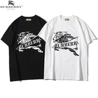 Barburry Herren Designer T Shirts Ritter Brief Drucken T-Shirts Sommer Männer Luxus Baumwolle Kurzarm Tees Casual Fashion Top Weiß Schwarz