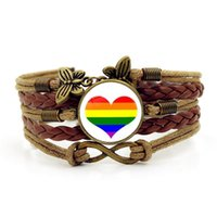 Gay Pride Rainbow Time Gemstone Bracelet Infinite Love Pulsera multicapa al por mayor