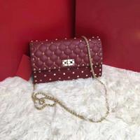 Wholesale diamond design handbag for sale - 2018 famous designer bags rivet  studded shoulder bag women db0315ddfeaef